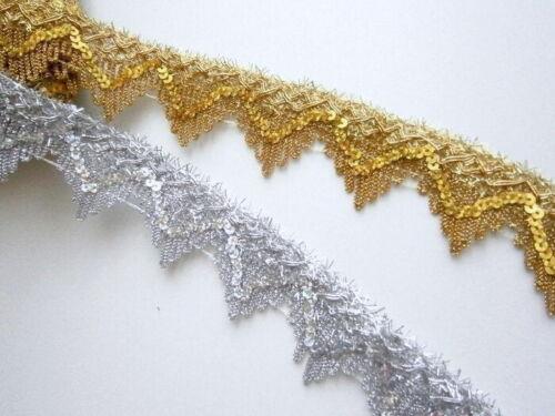 lentejuelas banda posamenten plata Paillettenborte lentejuelas 35mm oro