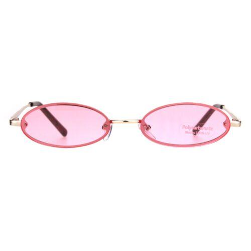 Mens Retro Oval Pimp Color Lens Narrow Exposed Edge Sunglasses