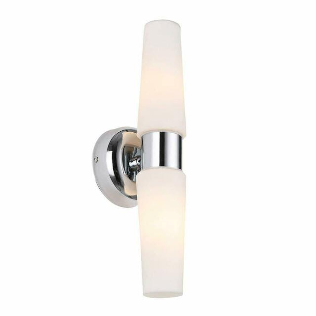 Runnly Wall Lamp Sconce Light Bathroom Vanity Lighting - Chrome with Opal Glass
