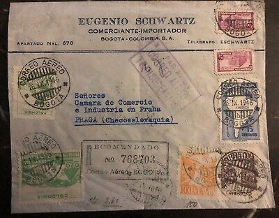 Briefmarken 2019 Neuestes Design 1946 Bogota Colombia Gewerblicher Luftpost Zu Prag Tschechoslowakei