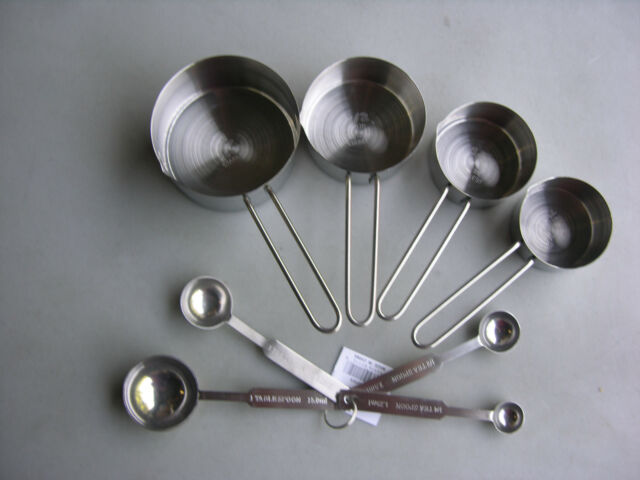 8 PIECE MEASURING CUPS & SPOONS SET STAINLESS STEEL FREE SHIP USA