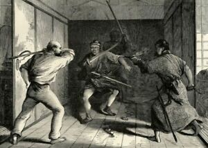 Japon-Attaque-Legation-Anglaise-Samourais-Sabre-Gravure-originale-XIXe