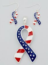 Ribbon Pendant Earrings American Flag Patriotic USA Awareness RED WHITE BLUE