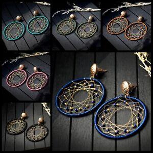 Big-Round-Bead-Dream-Weave-Women-Tassel-Earrings-Dangle-Ear-Stud-Hook-Jewelry