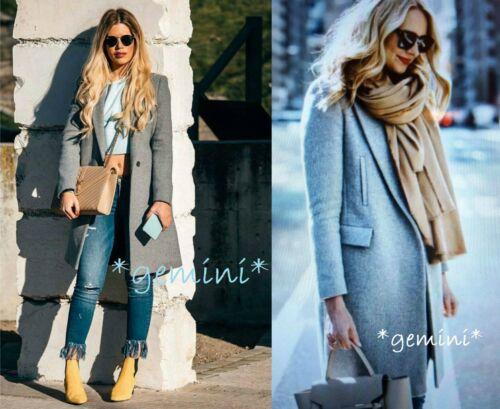 lunga Zara lana lana Cappotto di Cappotto Taglia grigio Cappotto di Giacca di maschile lana M q74qwfF