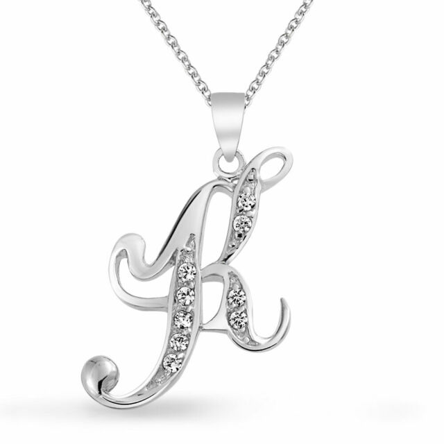 """New 925 Sterling Silver /"""" K /"""" Script INITIAL PENDANT Charm with 16/"""" SILVER Chain"""