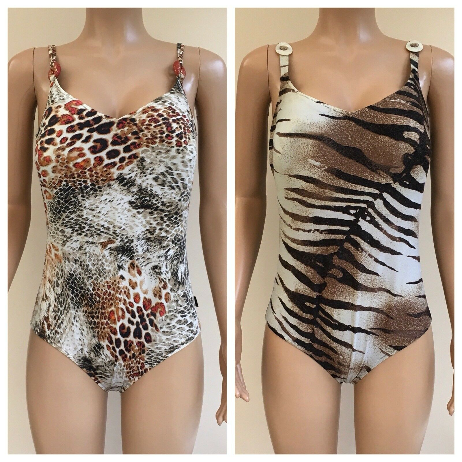Designer Impronte Parah x 2 Swimsuits Animal Print Size IT 52  CBX