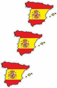 Small Map Of Spain.Details About Spain 3x Small Map Flag Stickers 1 2 Bumper Helmet Phone Fridge Bike