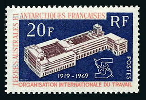 FSAT TAAF 35, MNH. International Labor Organization Headquarters, Geneva, 1970