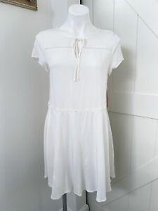 Just Fab Women's White Short Sleeve Tie Neck Lightweight Dress Size XS NWT