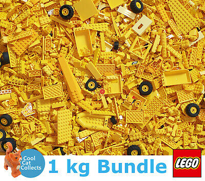 1000g Bundle of Mixed Yellow Bricks Joblot Free Minifigure Genuine Lego 1kg
