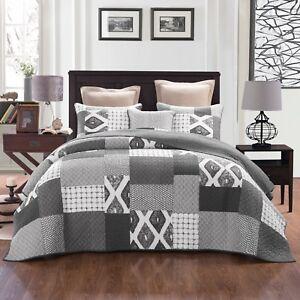 Home & Garden Quilts, Bedspreads & Coverlets Quilt 100% Cotton Coverlet King 245cm X 265cm Slate Grey Tones 2 P/case Exquisite Craftsmanship;