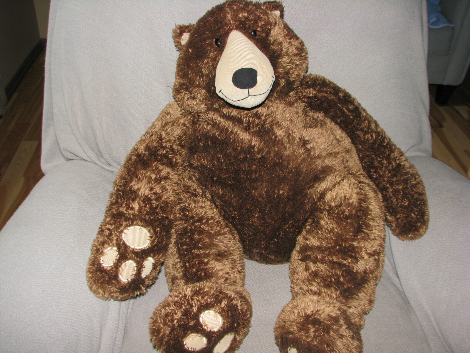 CIRCO STUFFED PLUSH FURRY FLOPPY CHOCOLATE Marrone TEDDY BEAR CORDUROY BIG HUGE