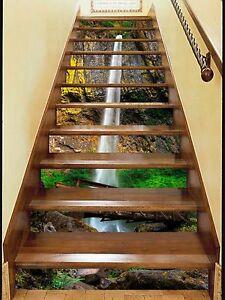 3D Stream Bridge 2 Stair Risers Decoration Photo Mural Vinyl Decal Wallpaper US