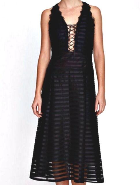 de05873e5a NWT  398 Nanette Lepore Contrast Stripe Lace Up Tie Fever Dress Black Size 6