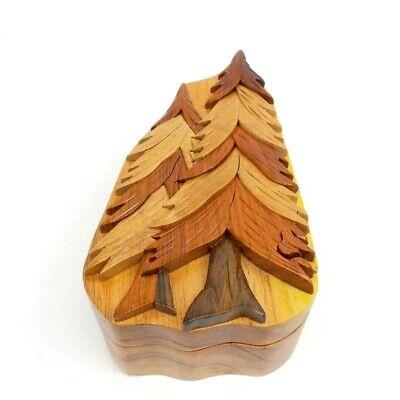 Pine Trees Wooden Puzzle Box Intarsia