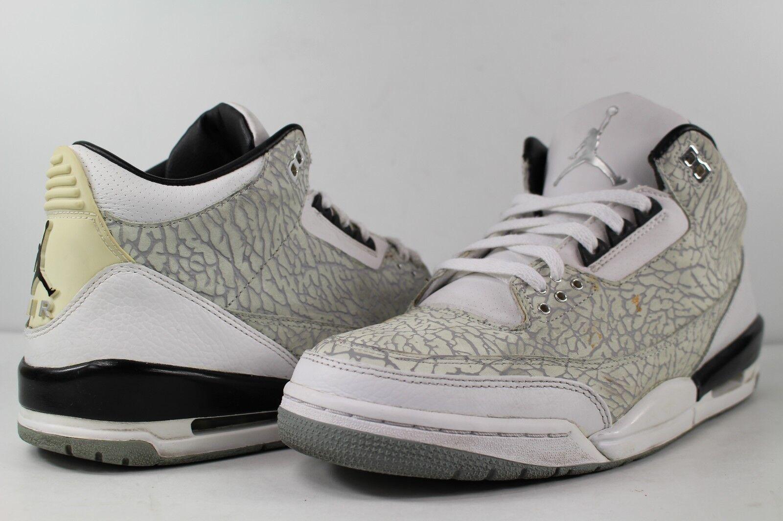 Nike air jordan retro di - iii - 3 di retro cemento bianco argento metallico di colore rosso molto 71e37c