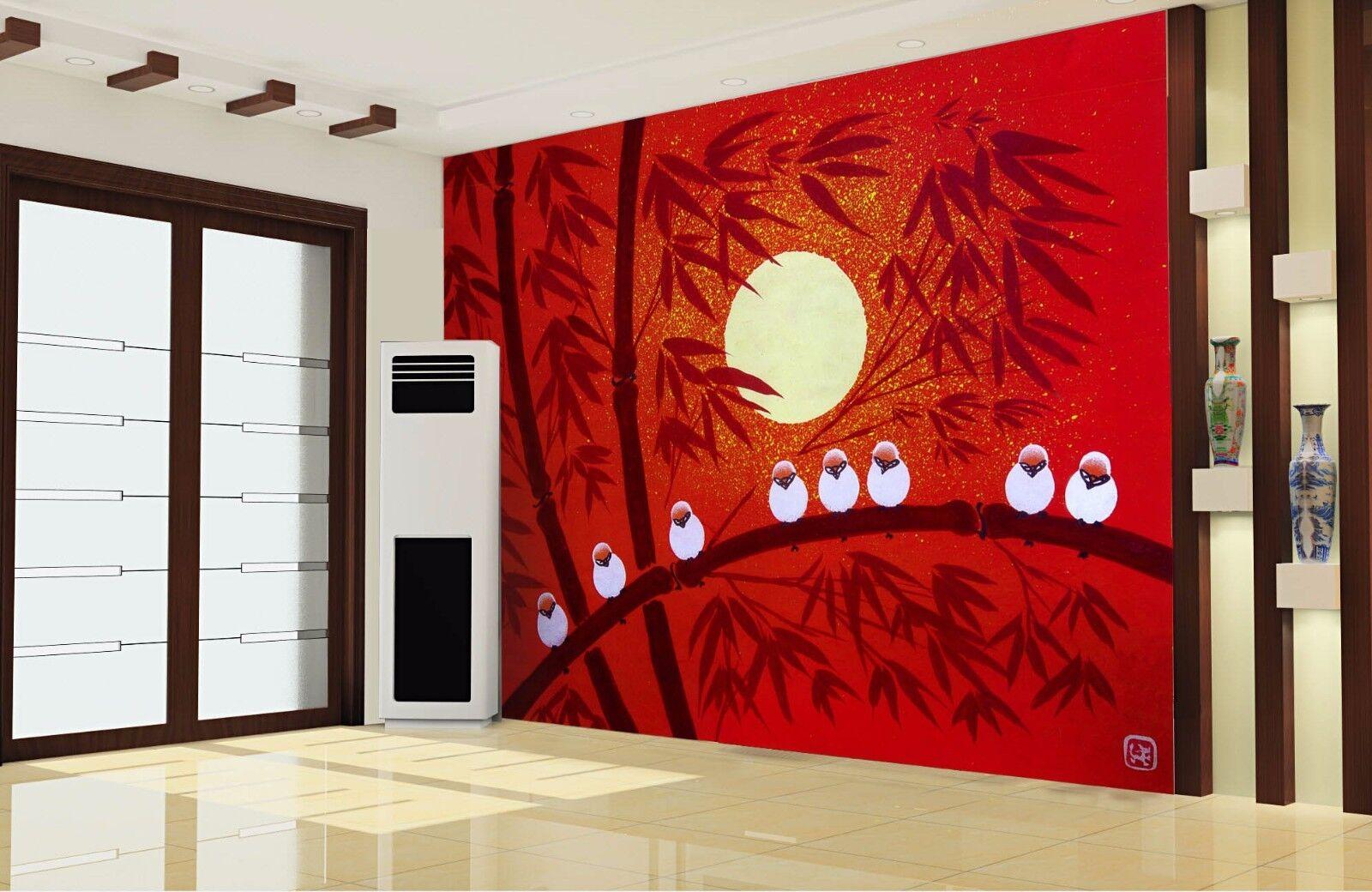 3D Roter Bambus Vogel 7 Tapete Wandgemälde Tapete Tapeten Bild Familie DE Summer