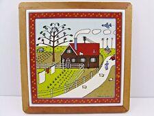 Vintage Ceramic Tile Oak Framed Hot Plate Trivet Picture Farm Scene ~ Signed