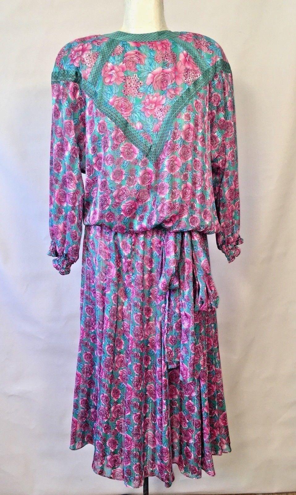 VTG 80s DIANE FREIS Dress Floral Pink pinks Boho Pretty Flutter Spring M