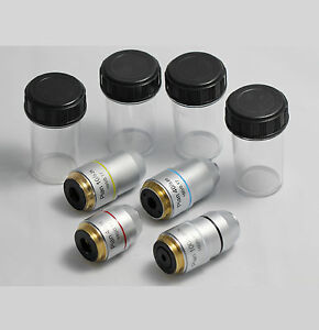 New-DIN-Plan-Achromatic-Microscope-Objective-Lens-Sets-4X-10X-40X-100X