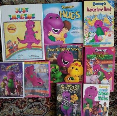 Barney The Purple Dinosaur 6 Story Books With Fun 3 Are Board 3 Dvds Ebay