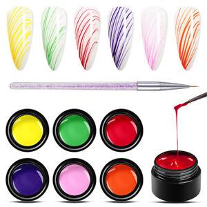 MEET-ACROSS-7Pcs-Set-5ML-Liner-Drawing-UV-Gel-Nail-Polish-Soak-Off-Painting-Gel