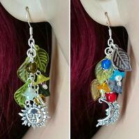 Four Seasons Pagan Earrings - Wicca, Witch, Wheel Of The Year, Sun, Moon, Flower