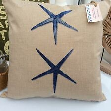 CUSHION COVER SEASIDE FABRIC NAVY INK BLUES SAMAKI SEA  STAR FISH SEASIDE COAST