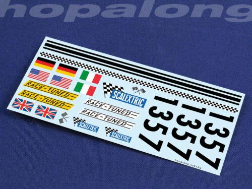 blanc avec imprimé Scalextric//Slot car 1//32 scale Waterslide Decals ns0010w