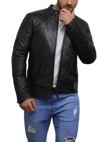 Brandslock Mens Distressed Leather Jacket Genuine Lambskin Slim Fit Biker Retro