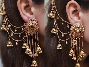 Image Is Loading Indian Earrings Bridal Jewellery Gold Plated Jhumka Jhumki