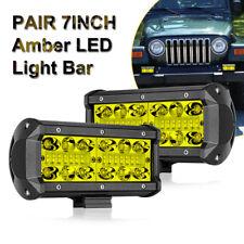 "2x Quad Row 7"" Inch 400W LED Work Light Bar Spot Flood Offroad Driving Lamps FOG"