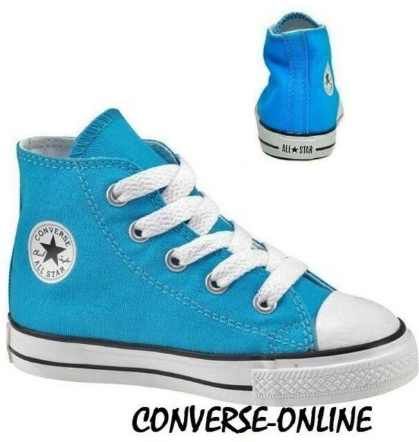 eb89c015357b KIDS Infants Boys Girl CONVERSE All Star BLUE HIGH TOP Trainers Boots SIZE  UK 10
