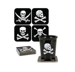 Set-of-4-Pirate-Skull-amp-Crossbones-Cork-Backed-Black-Coasters