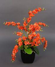 Orchideen-Arrangement orange im schw. De.Topf PM künstliche Orchidee Kunstblumen