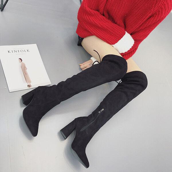 stivali stivaletti nero morbidi ginocchio coscia coscia ginocchio tacco 10 cm stiletto alti 9610 dac2d8