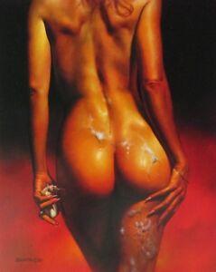 Boris-Vallejo-Vintage-Art-Nude-Woman-GGA-Soap-Dragon-Tongue-Fantasy-Print-Bubble