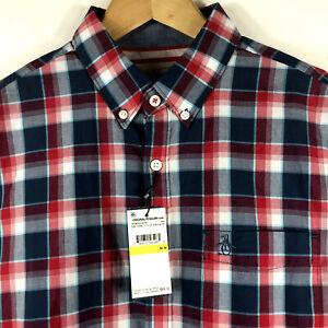 Original-Penguin-Mens-P55-Long-Sleeve-Plaid-Shirt-w-Stretch-Dark-Denim-Red-89