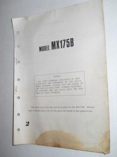 YAMAHA MX175 B   ILLUSTRATED  PARTS LIST CATALOGUE  MANUAL