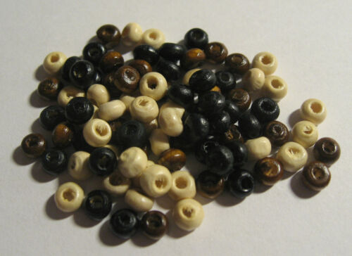 1mm hole 4mm wide 200 x Wooden Seed Beads Mixed Colour approx B178