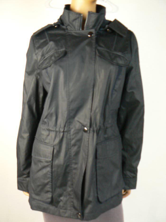 200 Braetan Navy bluee Lined Hooded Windbreaker Rain Coat L 12 14 NEW B706