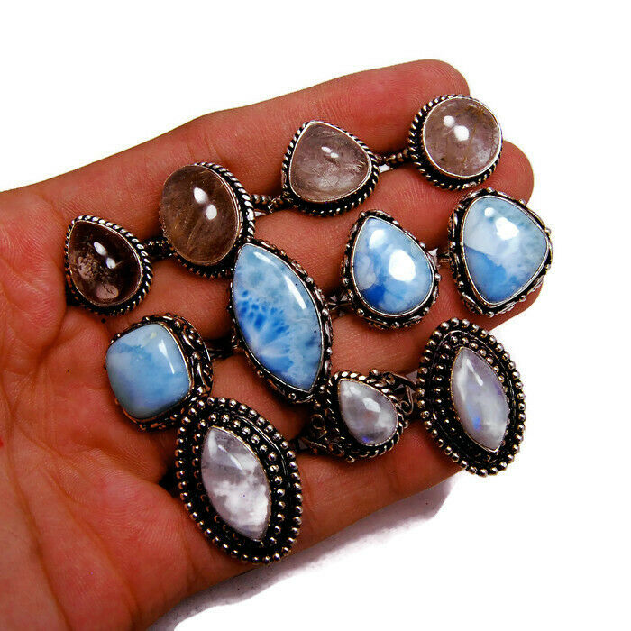 50 Pcs. Wholesale Lot Natural Mix Larimar, Moonstone 925 Silver Plated Rings