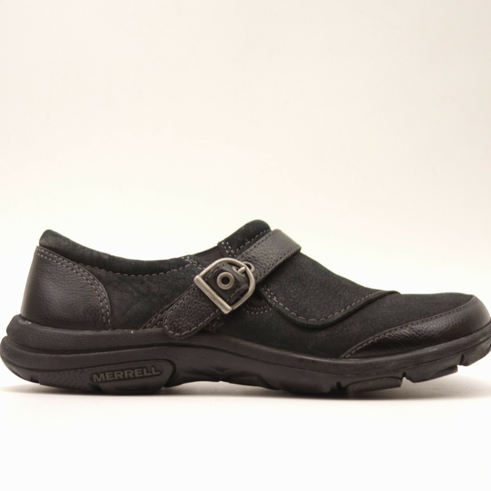 Merrell Womens Dassie Buckle Slip On Leather Black  Loafer Shoes Size 6.5