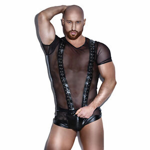 Hommes Noirs Sexy lingerie sexy homme tee shirt h047 noir taille s - noir handmade | ebay