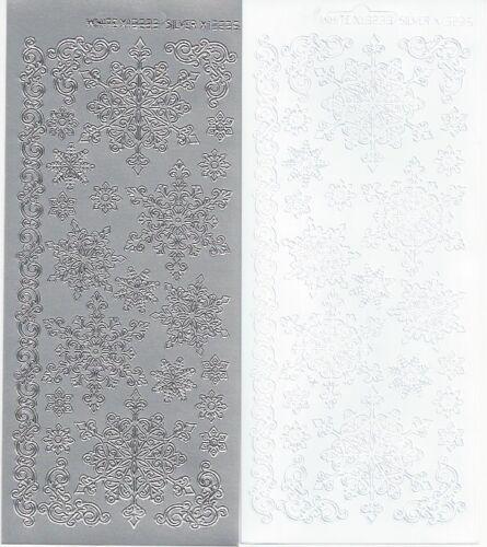 Copo de Nieve Pegatinas-despegar Blanco o Plata Copos de nieve-tarjeta de Navidad 13235