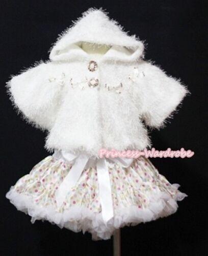 White Rainbow Dot Full Skirt Girl Pettiskirt Soft Fur Shawl Coat Jacket 2PC 1-8Y