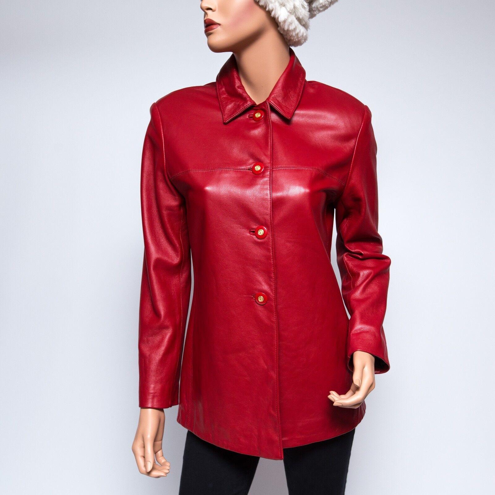 St  John Sport Abrigo De Cuero Genuino Rojo Forrado Petite Pequeña  2800  marcas en línea venta barata