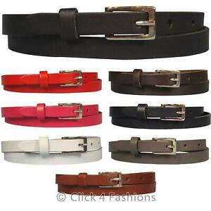 Mens-Ladies-Unisex-Real-Leather-Belt-Skinny-Narrow-Fashion-Sizes-28-034-52-034-Waist