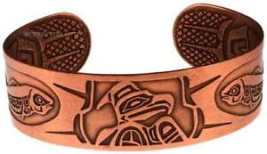 Solid-Copper-Bracelet-Eagle-Northwest-Handmade-Jewelry-Cuff-Large-Wide-Band
